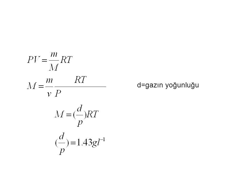 d=gazın yoğunluğu