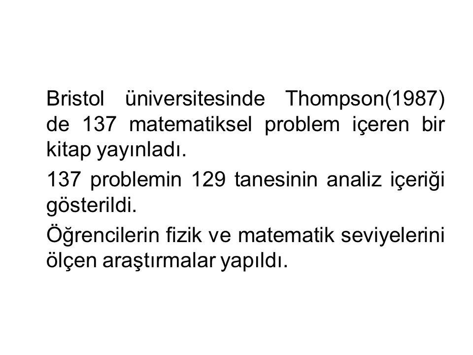 Bristol üniversitesinde Thompson(1987) de 137 matematiksel problem içeren bir kitap yayınladı.
