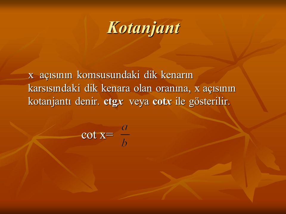 Kotanjant x açısının komsusundaki dik kenarın karsısındaki dik kenara olan oranına, x açısının kotanjantı denir. ctgx veya cotx ile gösterilir.