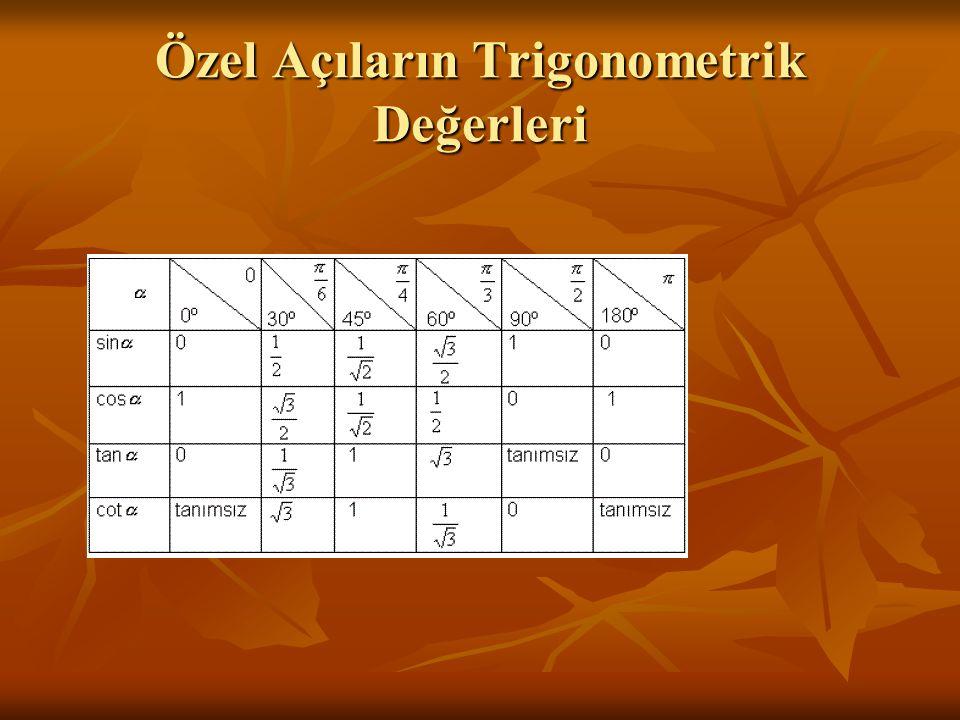 Özel Açıların Trigonometrik Değerleri