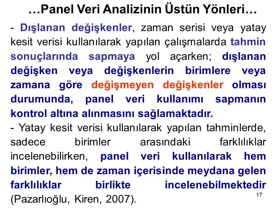 …Panel Veri Analizinin Üstün Yönleri…