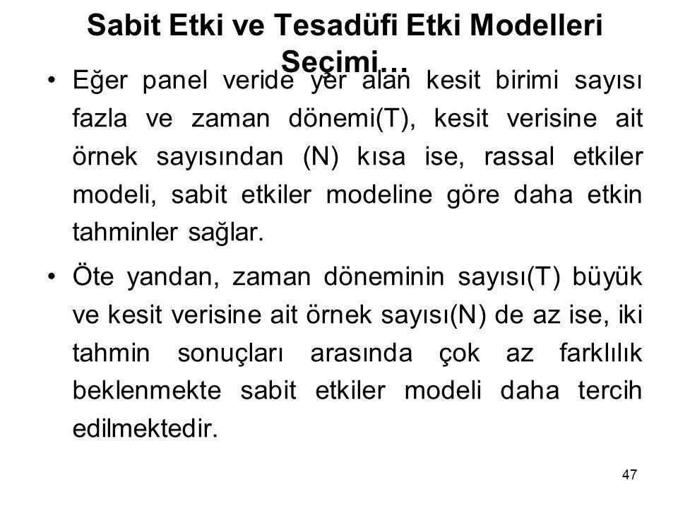 Sabit Etki ve Tesadüfi Etki Modelleri Seçimi…