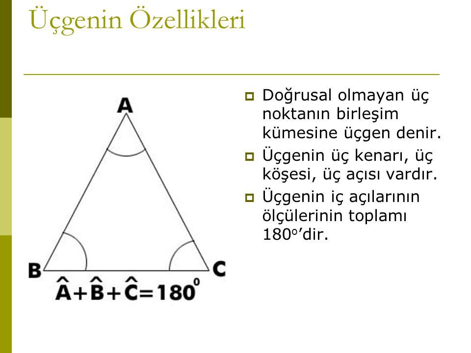 Üçgenin Özellikleri Doğrusal olmayan üç noktanın birleşim kümesine üçgen denir. Üçgenin üç kenarı, üç köşesi, üç açısı vardır.