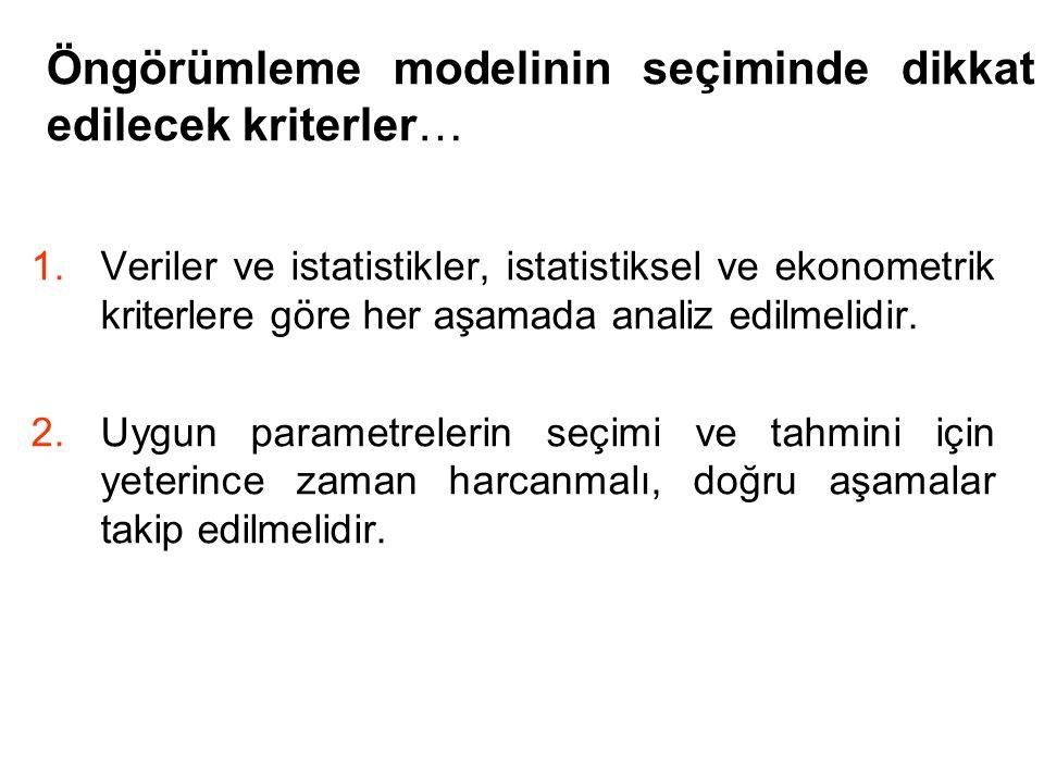 Öngörümleme modelinin seçiminde dikkat edilecek kriterler…