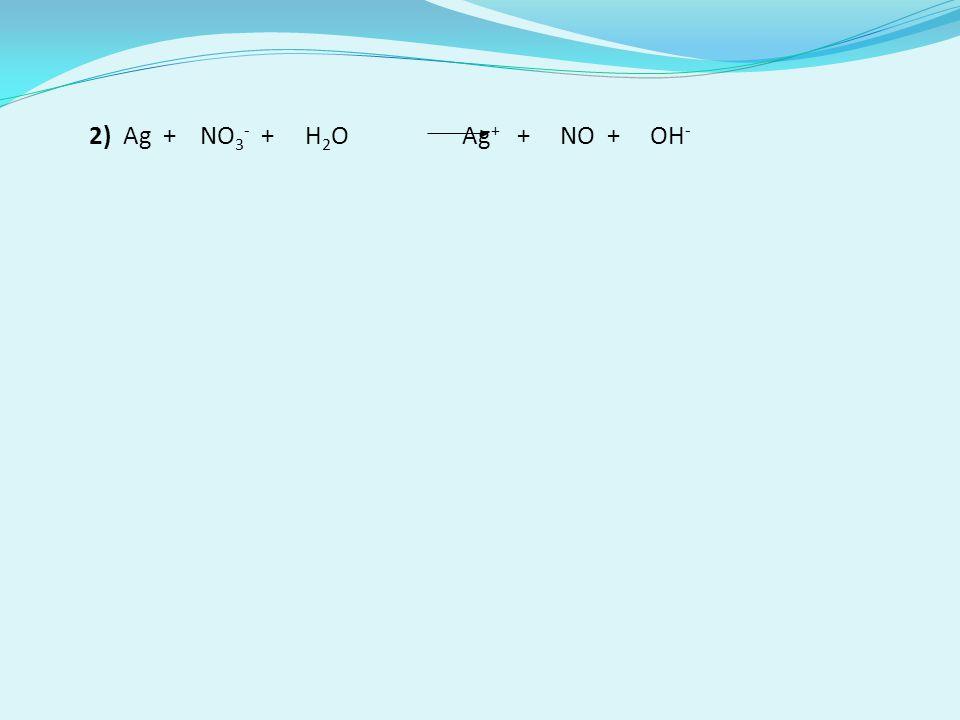 2) Ag + NO3- + H2O Ag+ + NO + OH-