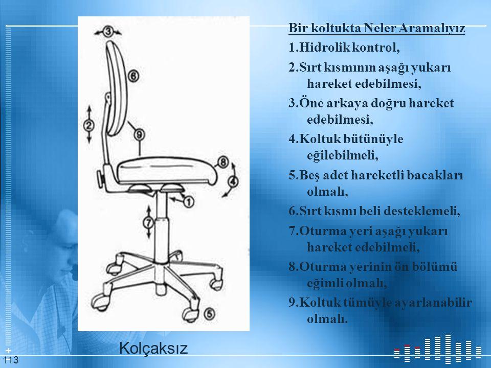 Bir koltukta Neler Aramalıyız 1. Hidrolik kontrol, 2