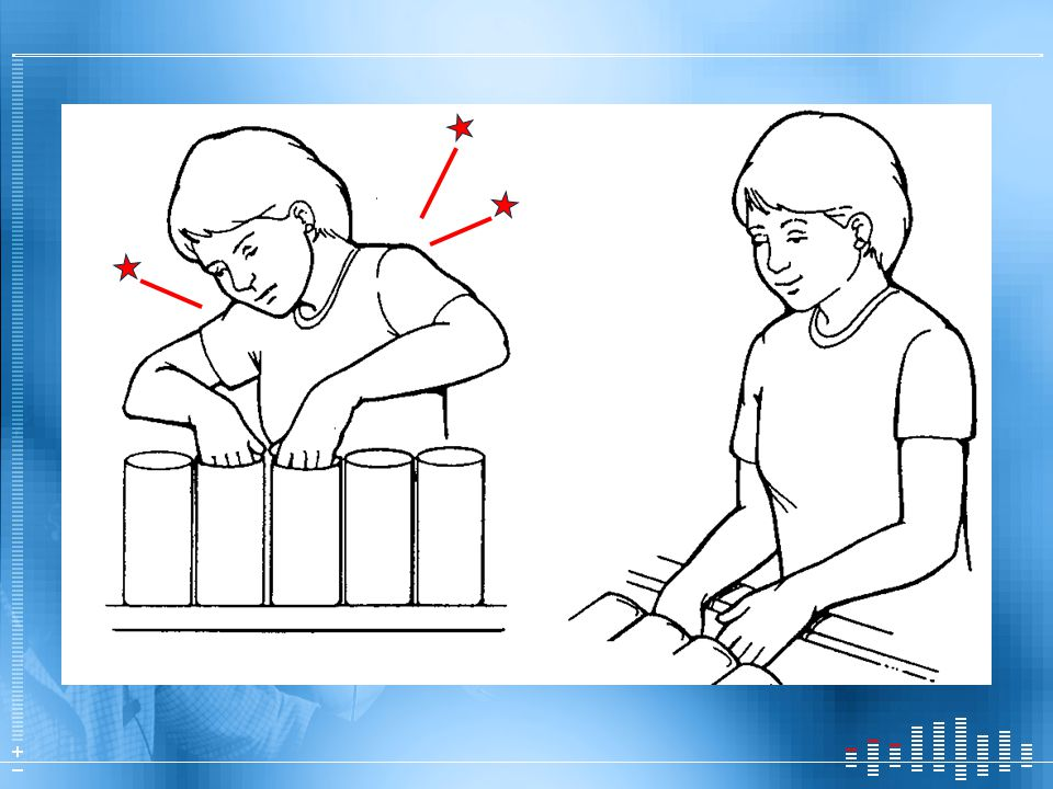 Workstation example. At left, product is too high: Hunching up shoulders, Winging out elbows. Right-hand illustration, the product is lowered: