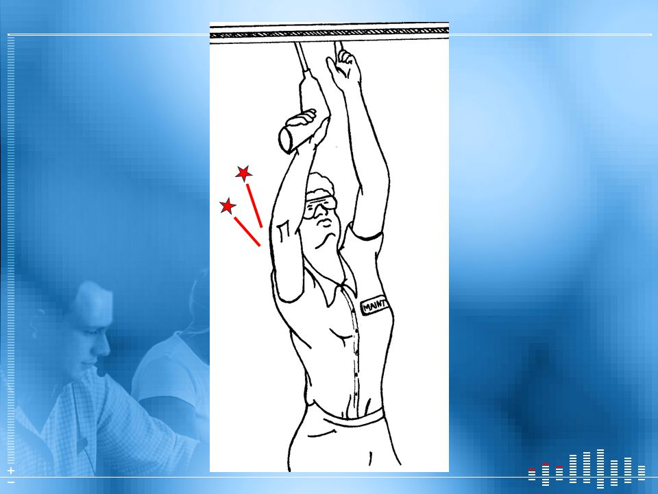 Another example: Holding arms overhead. Neck and shoulder muscles hurt.