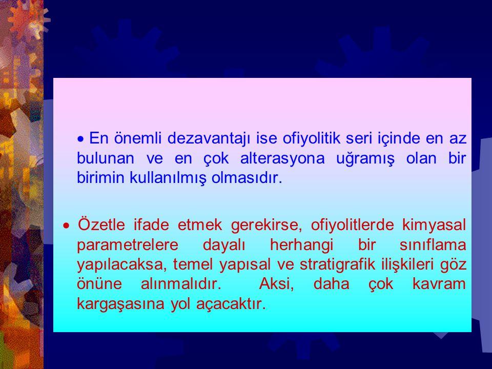 · En önemli dezavantajı ise ofiyolitik seri içinde en az bulunan ve en çok alterasyona uğramış olan bir birimin kullanılmış olmasıdır.