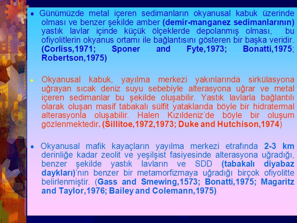 · Günümüzde metal içeren sedimanların okyanusal kabuk üzerinde olması ve benzer şekilde amber (demir-manganez sedimanlarının) yastık lavlar içinde küçük ölçeklerde depolanmış olması, bu ofiyolitlerin okyanus ortamı ile bağlantısını gösteren bir başka veridir. (Corliss,1971; Sponer and Fyte,1973; Bonatti,1975; Robertson,1975)