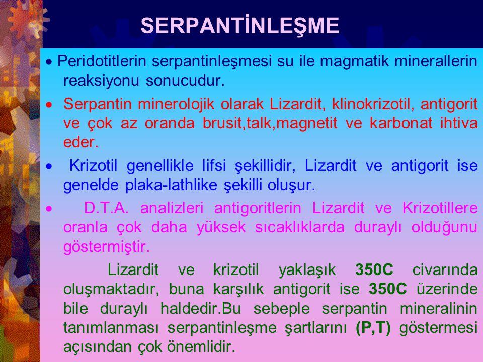 SERPANTİNLEŞME · Peridotitlerin serpantinleşmesi su ile magmatik minerallerin reaksiyonu sonucudur.