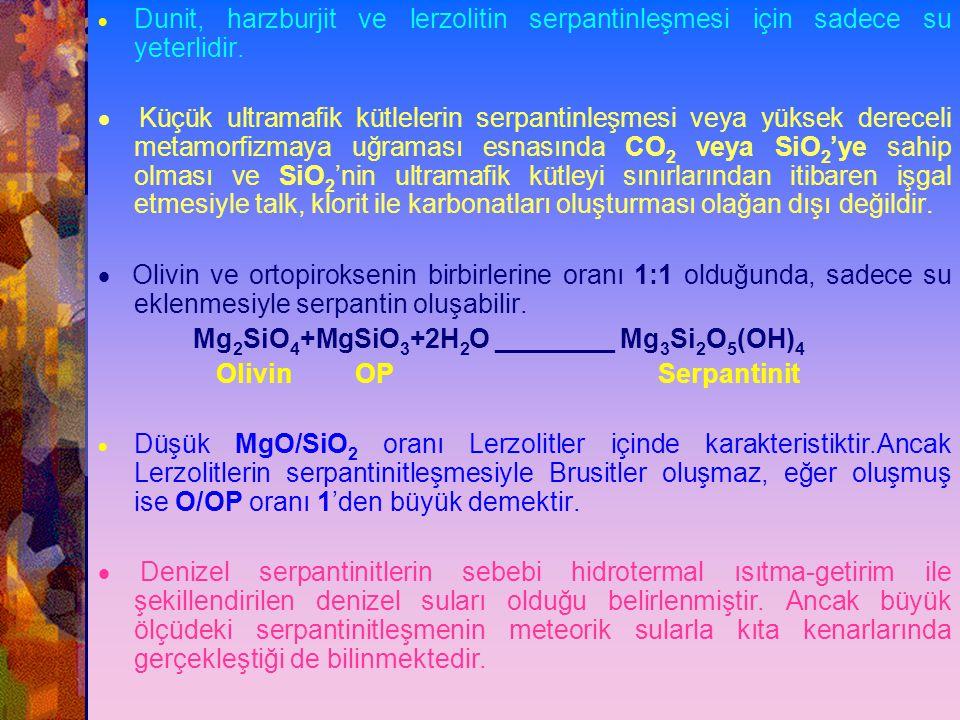 Dunit, harzburjit ve lerzolitin serpantinleşmesi için sadece su yeterlidir.