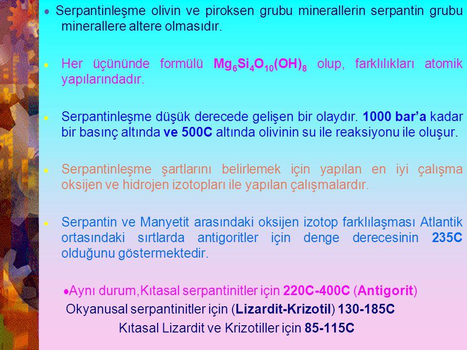 · Serpantinleşme olivin ve piroksen grubu minerallerin serpantin grubu minerallere altere olmasıdır.