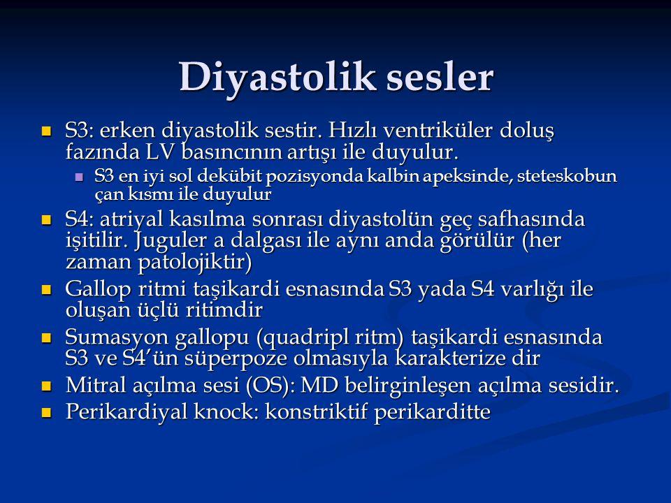 Diyastolik sesler S3: erken diyastolik sestir. Hızlı ventriküler doluş fazında LV basıncının artışı ile duyulur.