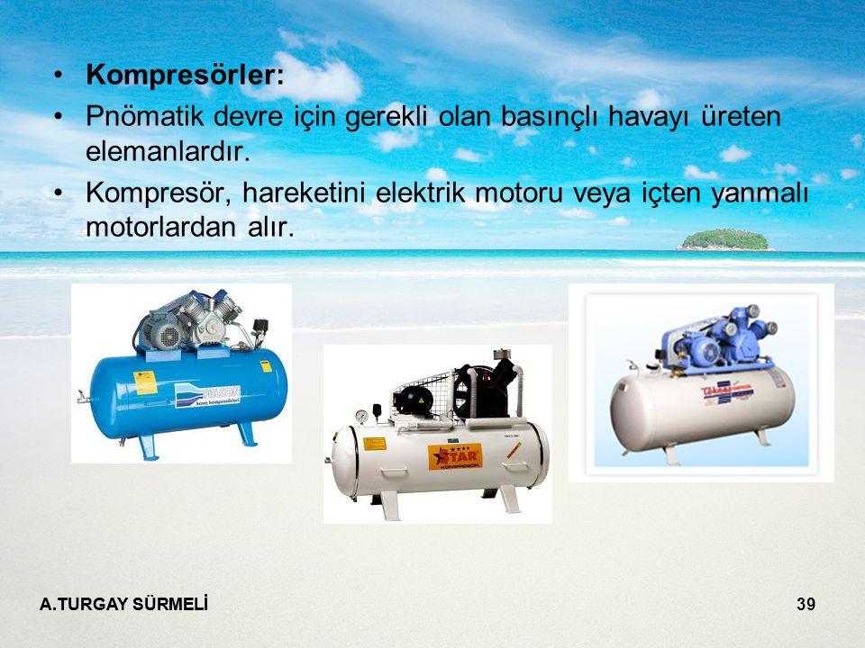 Pnömatik devre için gerekli olan basınçlı havayı üreten elemanlardır.