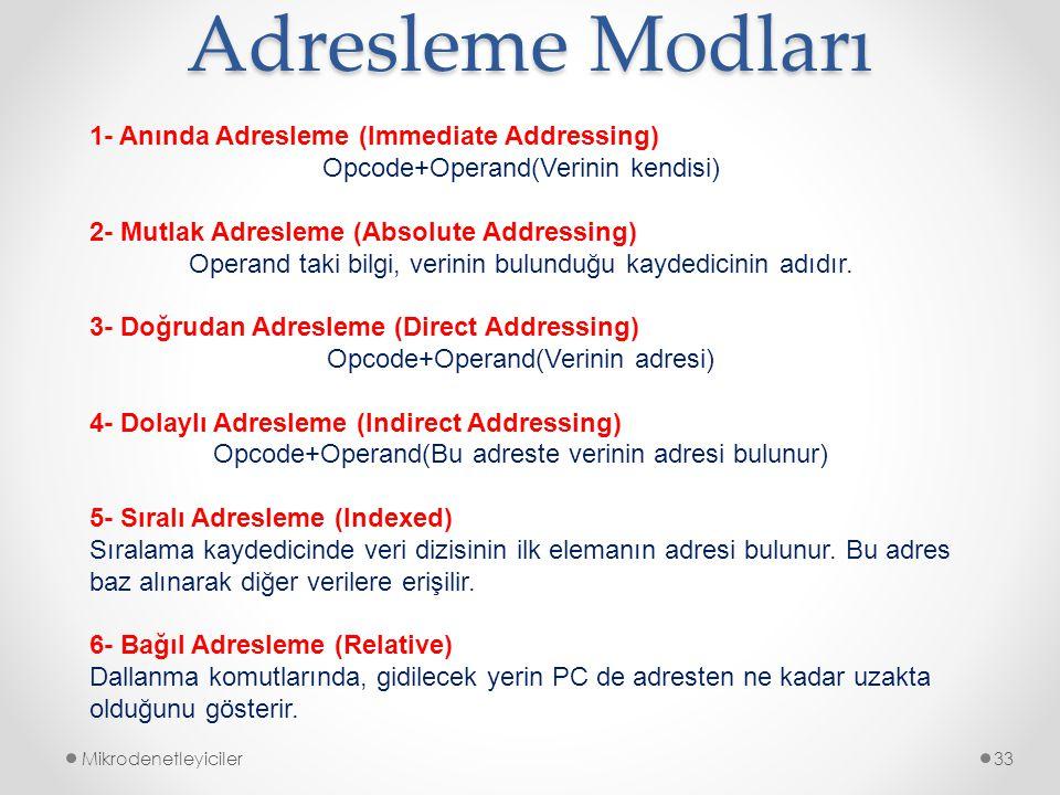 Adresleme Modları 1- Anında Adresleme (Immediate Addressing)