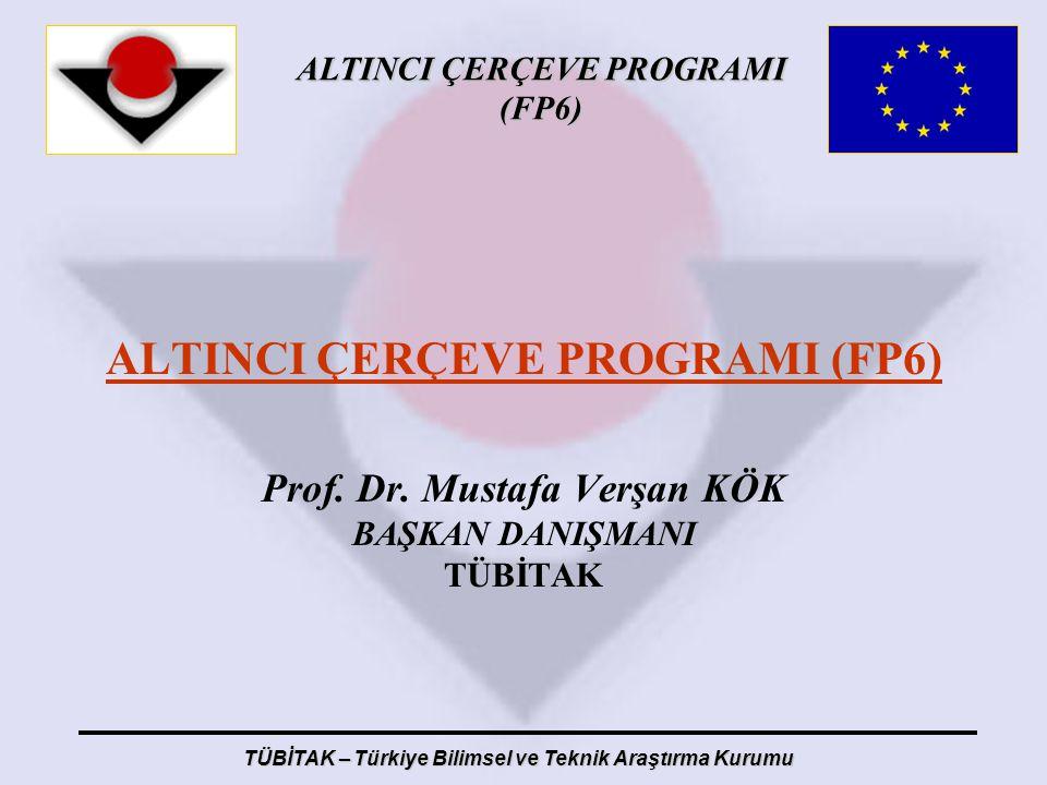 ALTINCI ÇERÇEVE PROGRAMI (FP6) Prof. Dr. Mustafa Verşan KÖK