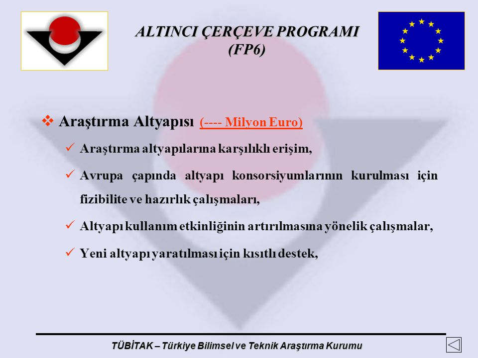 Araştırma Altyapısı (---- Milyon Euro)