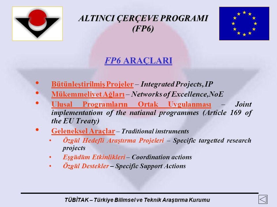 FP6 ARAÇLARI Bütünleştirilmiş Projeler – Integrated Projects, IP