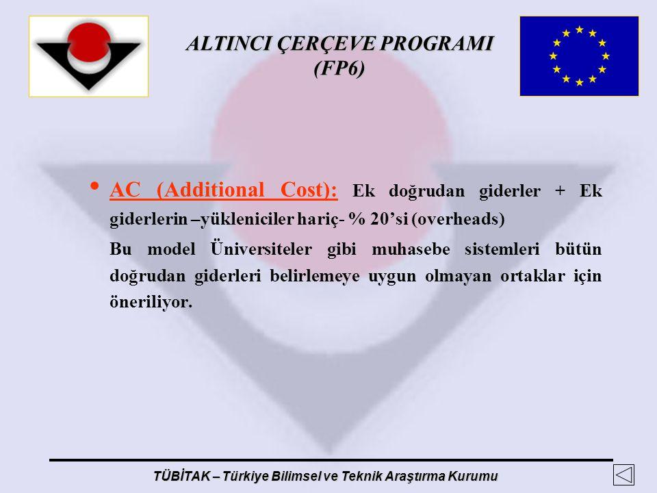 AC (Additional Cost): Ek doğrudan giderler + Ek giderlerin –yükleniciler hariç- % 20'si (overheads)