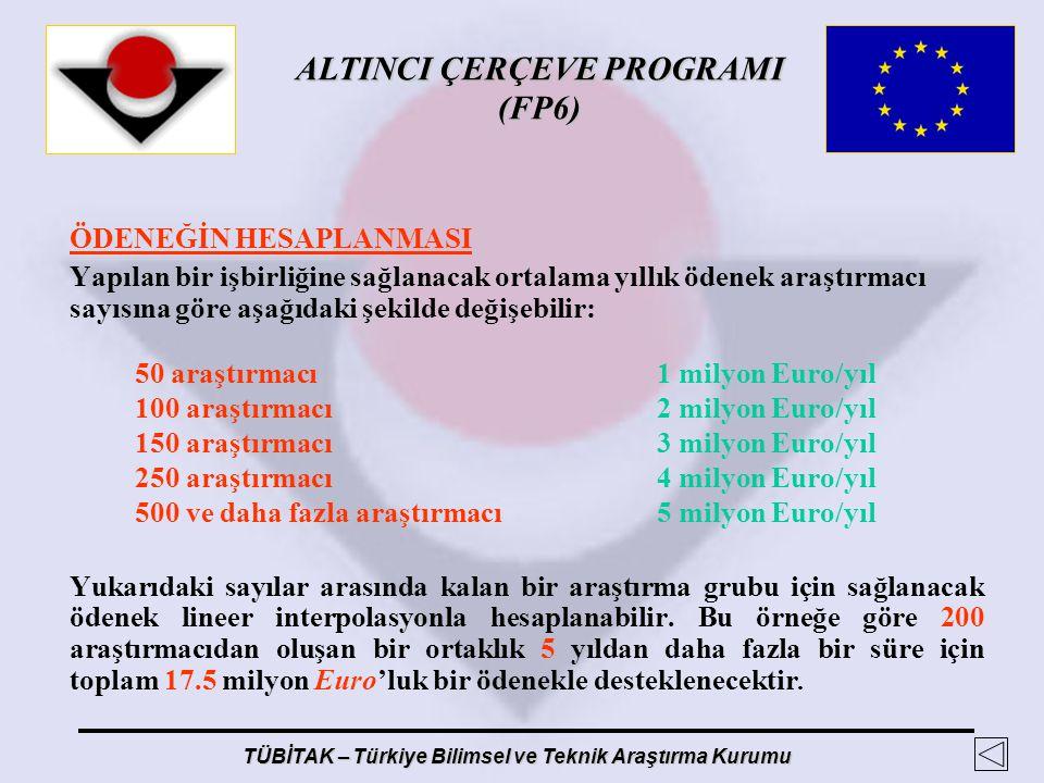 100 araştırmacı 2 milyon Euro/yıl 150 araştırmacı 3 milyon Euro/yıl