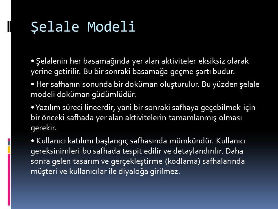Şelale Modeli • Şelalenin her basamağında yer alan aktiviteler eksiksiz olarak yerine getirilir. Bu bir sonraki basamağa geçme şartı budur.