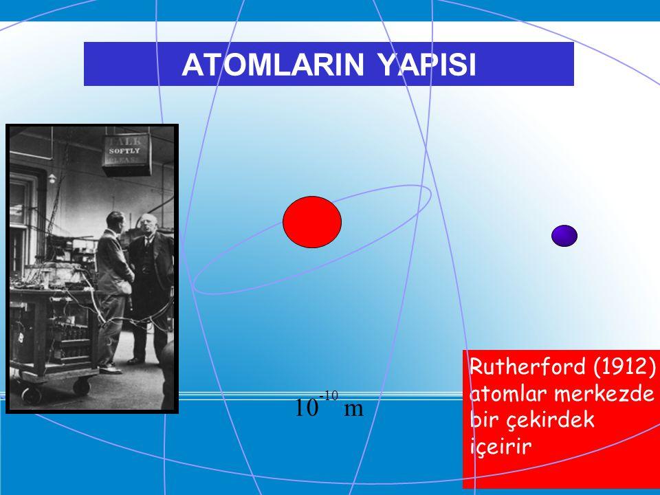 ATOMLARIN YAPISI Rutherford (1912) atomlar merkezde bir çekirdek içeirir 10-10 m