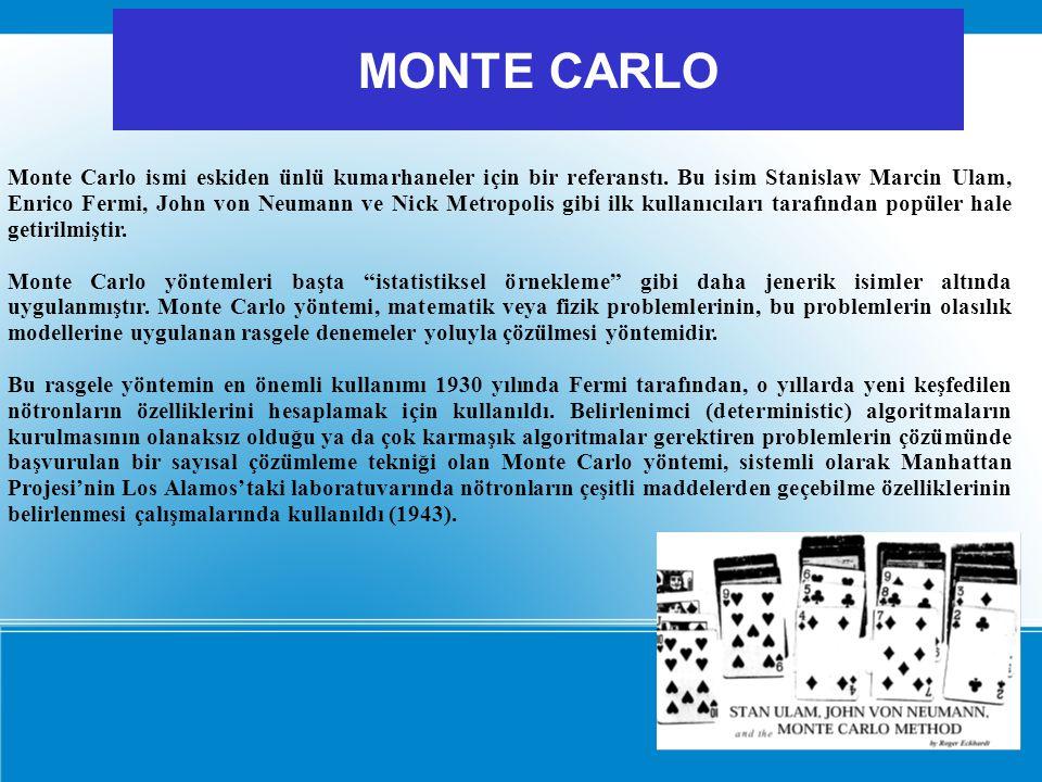 Monte Carlo ismi eskiden ünlü kumarhaneler için bir referanstı