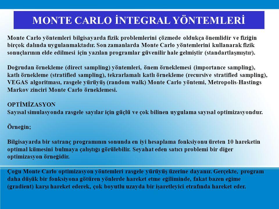 MONTE CARLO İNTEGRAL YÖNTEMLERİ