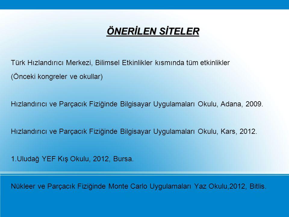 ÖNERİLEN SİTELER Türk Hızlandırıcı Merkezi, Bilimsel Etkinlikler kısmında tüm etkinlikler. (Önceki kongreler ve okullar)
