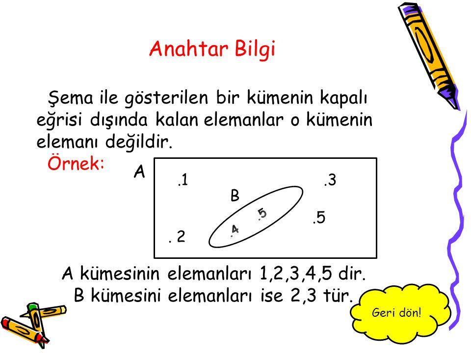 Anahtar Bilgi Şema ile gösterilen bir kümenin kapalı eğrisi dışında kalan elemanlar o kümenin elemanı değildir.