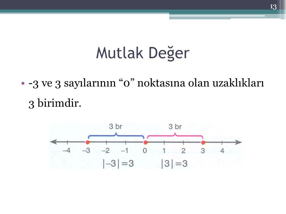 Mutlak Değer -3 ve 3 sayılarının 0 noktasına olan uzaklıkları 3 birimdir.