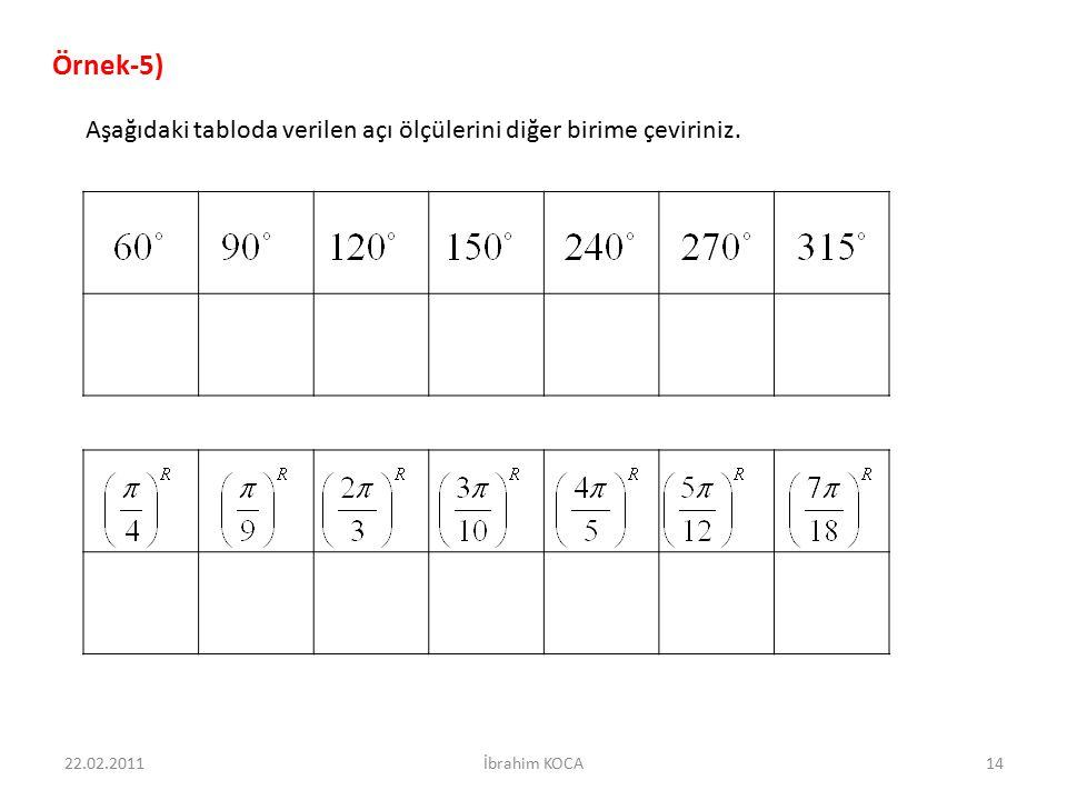 Örnek-5) Aşağıdaki tabloda verilen açı ölçülerini diğer birime çeviriniz. 22.02.2011 İbrahim KOCA