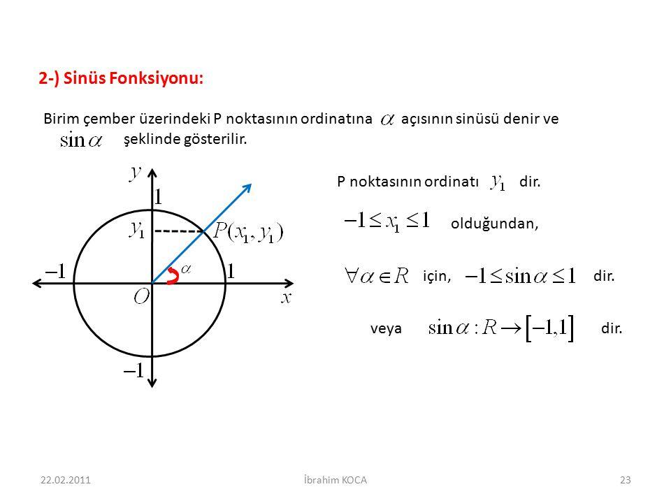 2-) Sinüs Fonksiyonu: Birim çember üzerindeki P noktasının ordinatına açısının sinüsü denir ve.