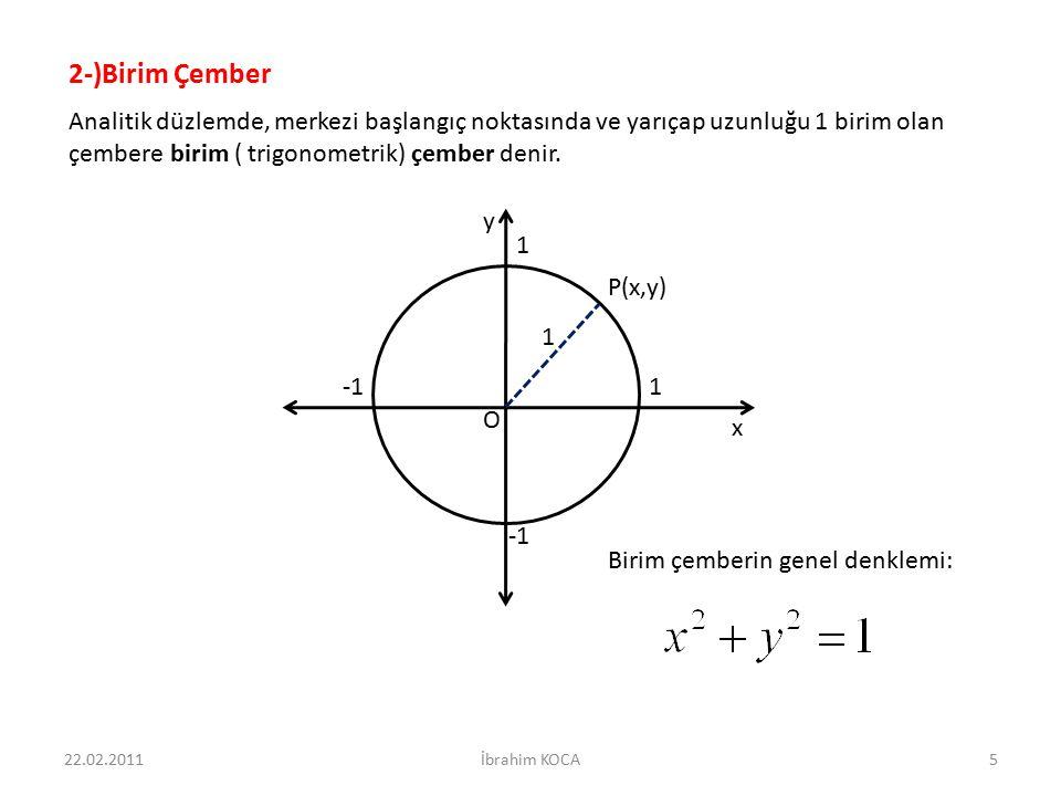 2-)Birim Çember Analitik düzlemde, merkezi başlangıç noktasında ve yarıçap uzunluğu 1 birim olan çembere birim ( trigonometrik) çember denir.