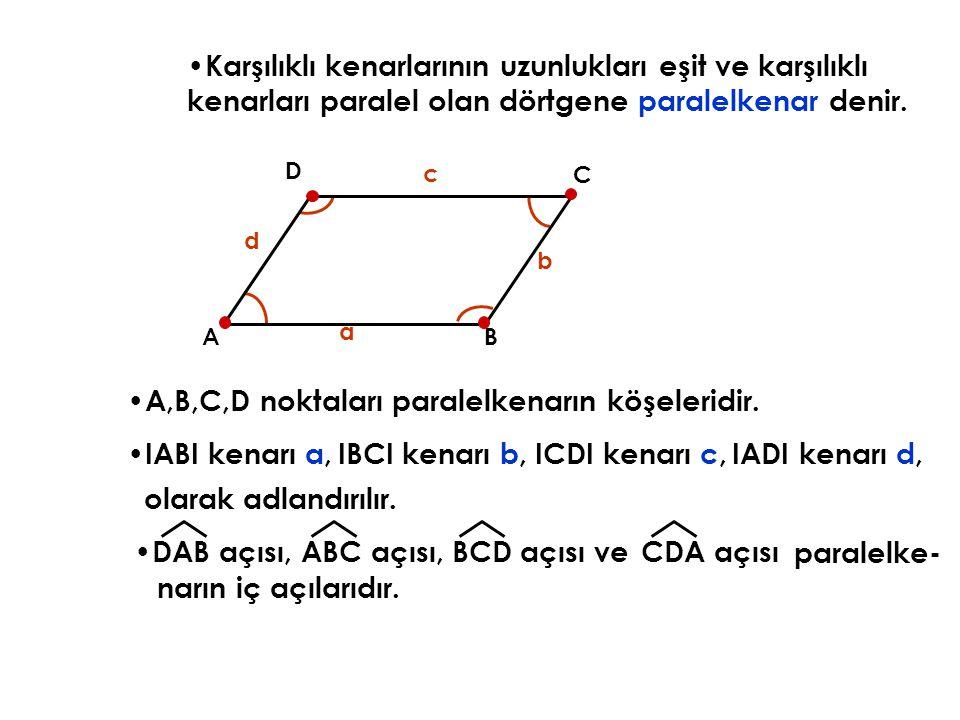 A,B,C,D noktaları paralelkenarın köşeleridir.