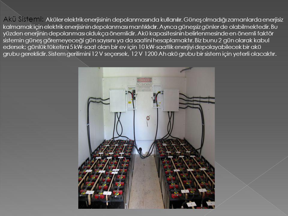 Akü Sistemi: Aküler elektrik enerjisinin depolanmasında kullanılır