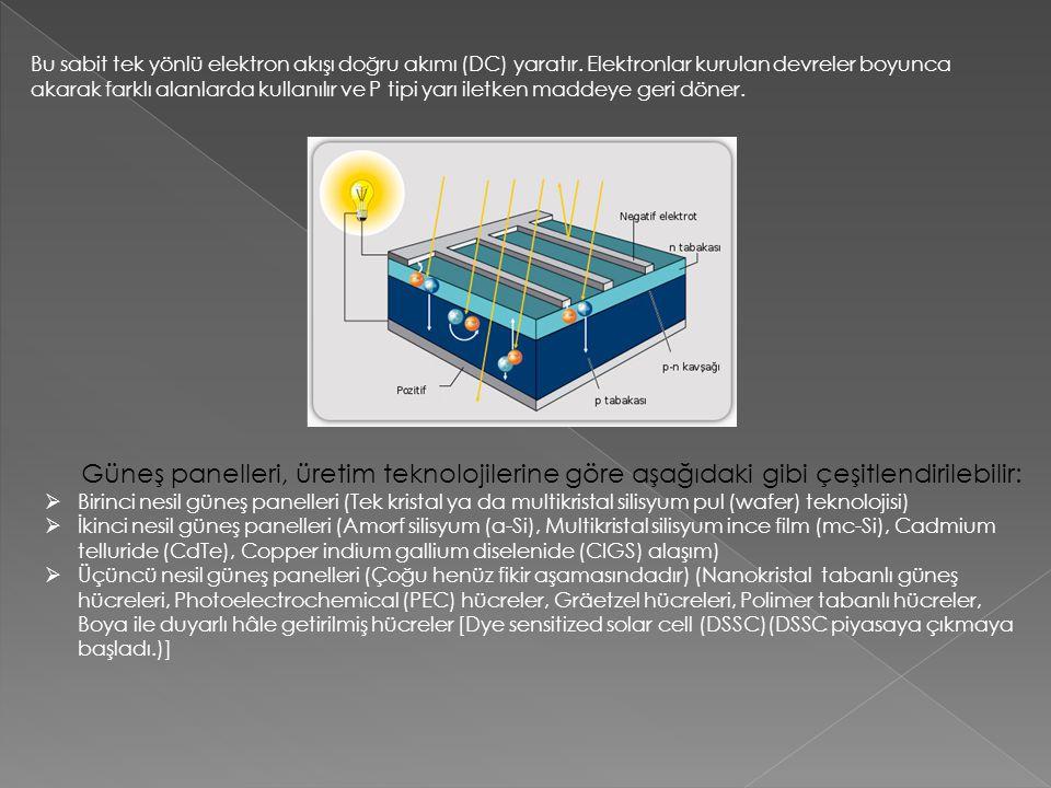 Bu sabit tek yönlü elektron akışı doğru akımı (DC) yaratır