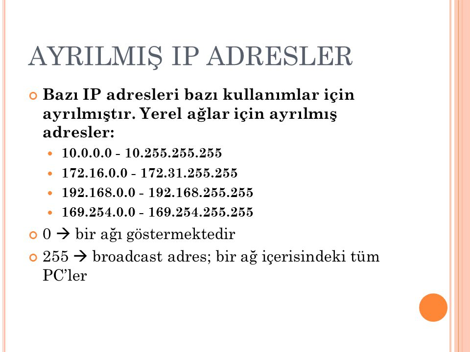 AYRILMIŞ IP ADRESLER Bazı IP adresleri bazı kullanımlar için ayrılmıştır. Yerel ağlar için ayrılmış adresler: