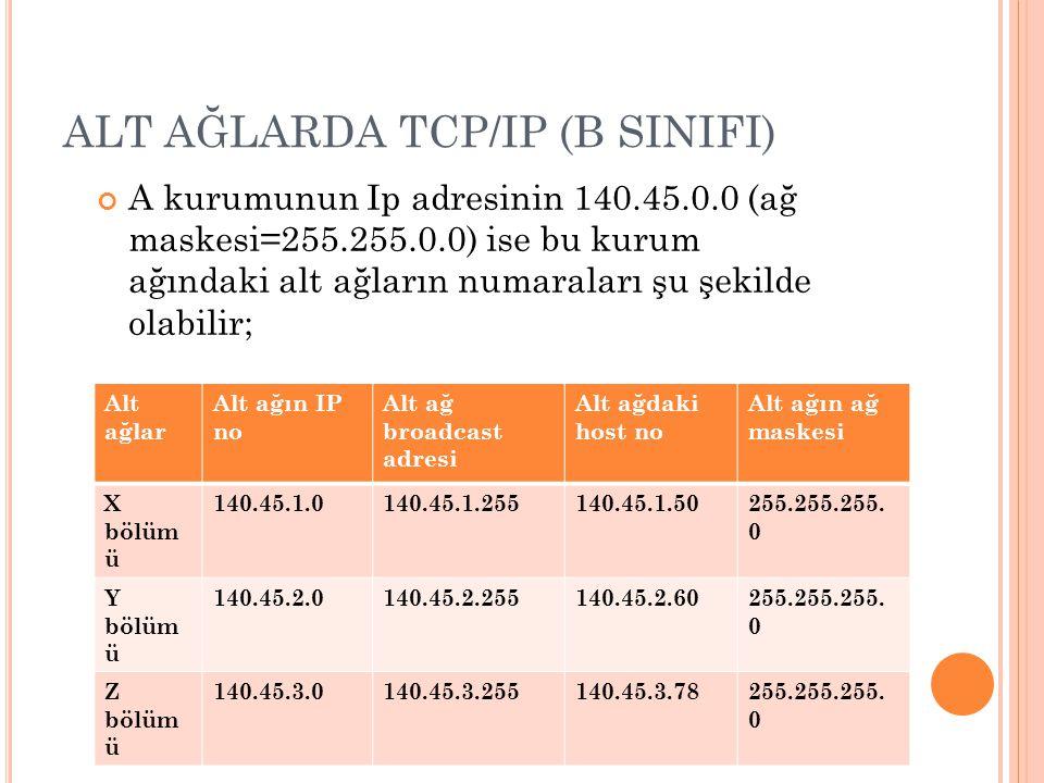 ALT AĞLARDA TCP/IP (B SINIFI)