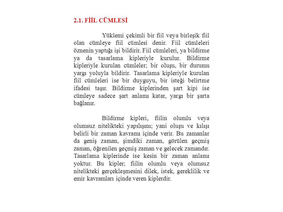 2.1. FİİL CÜMLESİ