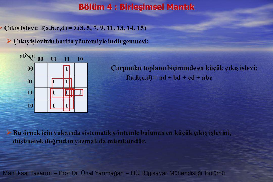  Çıkış işlevi: f(a,b,c,d) = (3, 5, 7, 9, 11, 13, 14, 15)