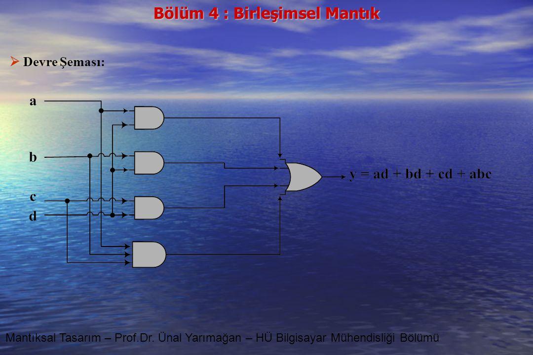 Devre Şeması: Mantıksal Tasarım – Prof.Dr. Ünal Yarımağan – HÜ Bilgisayar Mühendisliği Bölümü
