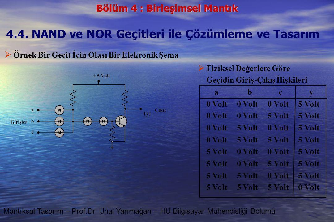 4.4. NAND ve NOR Geçitleri ile Çözümleme ve Tasarım