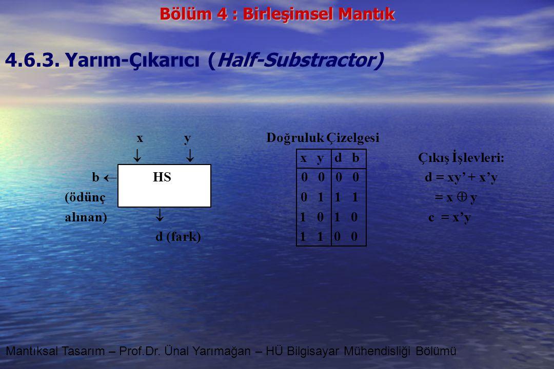 4.6.3. Yarım-Çıkarıcı (Half-Substractor)