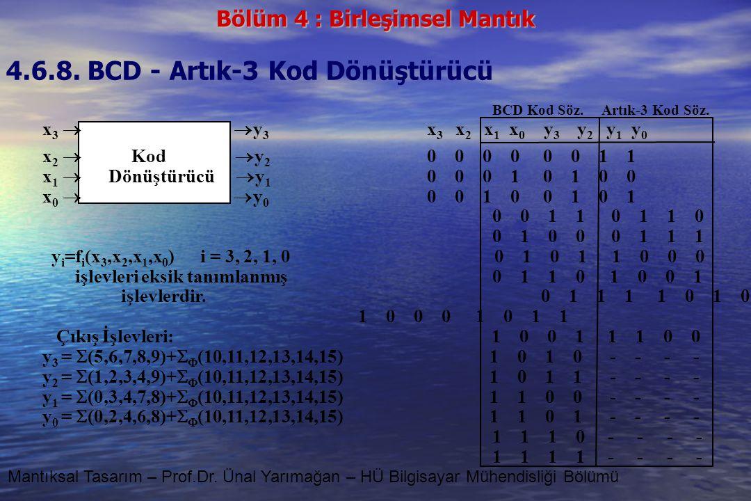 4.6.8. BCD - Artık-3 Kod Dönüştürücü