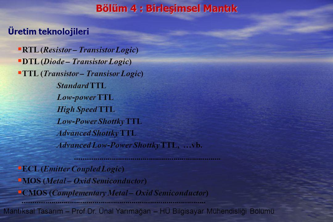 RTL (Resistor – Transistor Logic) DTL (Diode – Transistor Logic)