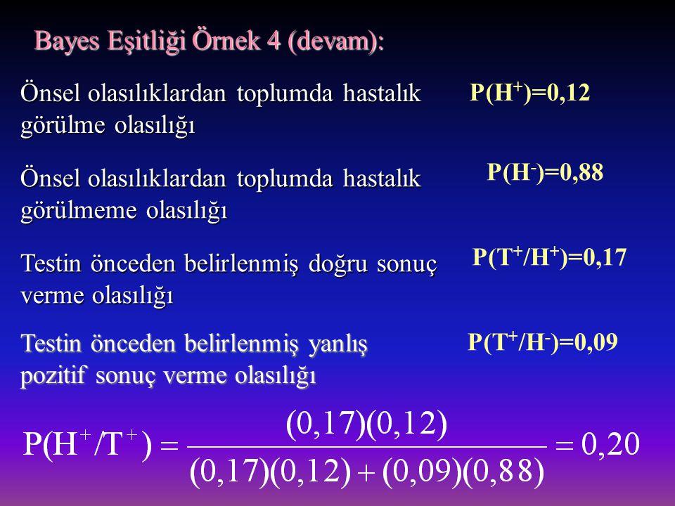 Bayes Eşitliği Örnek 4 (devam):