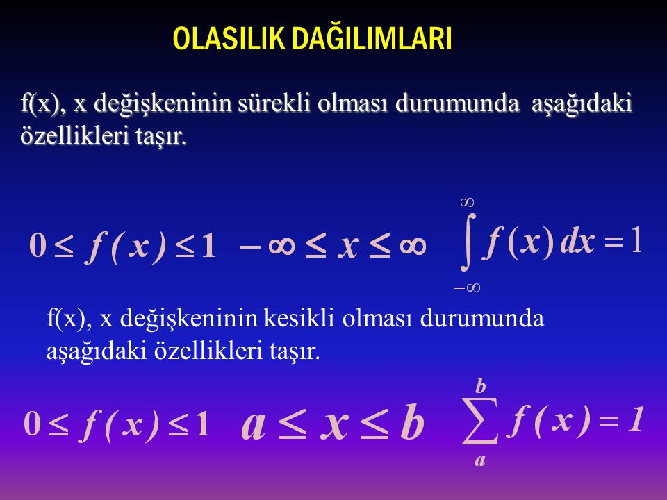 OLASILIK DAĞILIMLARI f(x), x değişkeninin sürekli olması durumunda aşağıdaki özellikleri taşır.