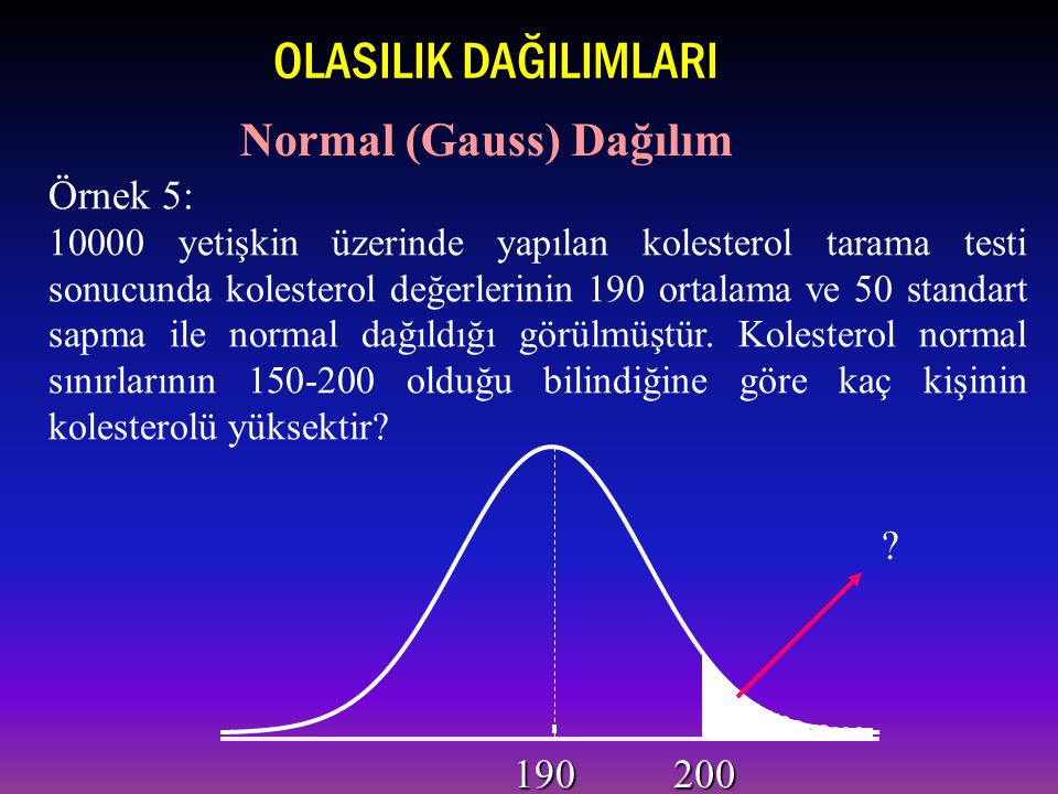 OLASILIK DAĞILIMLARI Normal (Gauss) Dağılım Örnek 5: 190 200